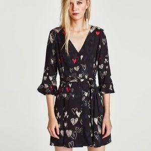 Zara Heart Printed Dress with V-Neck
